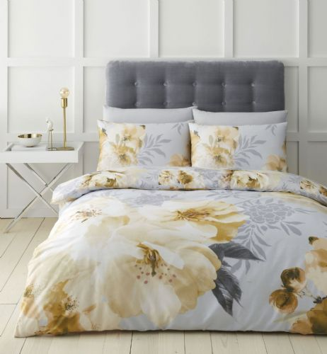 Catherine Lansfield Dramatic Floral Ochre Bedding Set